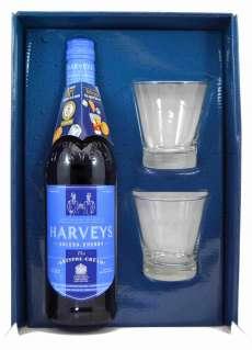 Harveys Bristol Cream con 2 vasos