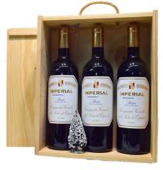 Red wine 3 Imperial  en caja de madera