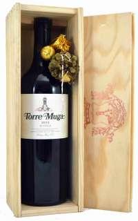 Red wine Torre Muga  en caja de madera